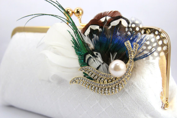 bridal purses clutches feathers