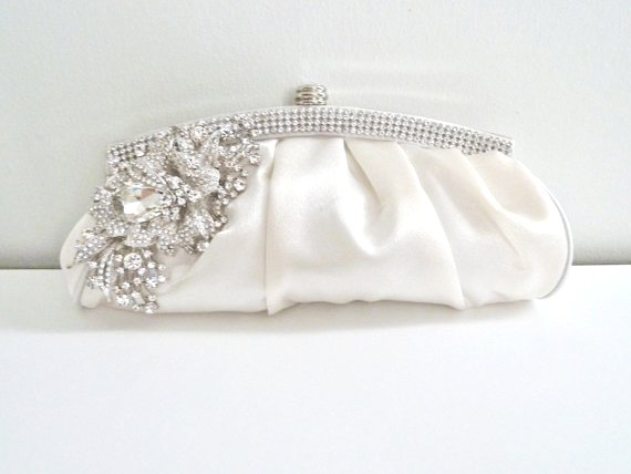 ivory white satin evening bridal crystal clutch purse
