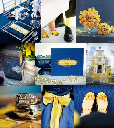 navy yellow blue wedding color schemes