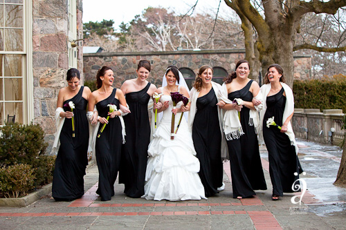 winter wedding party bride